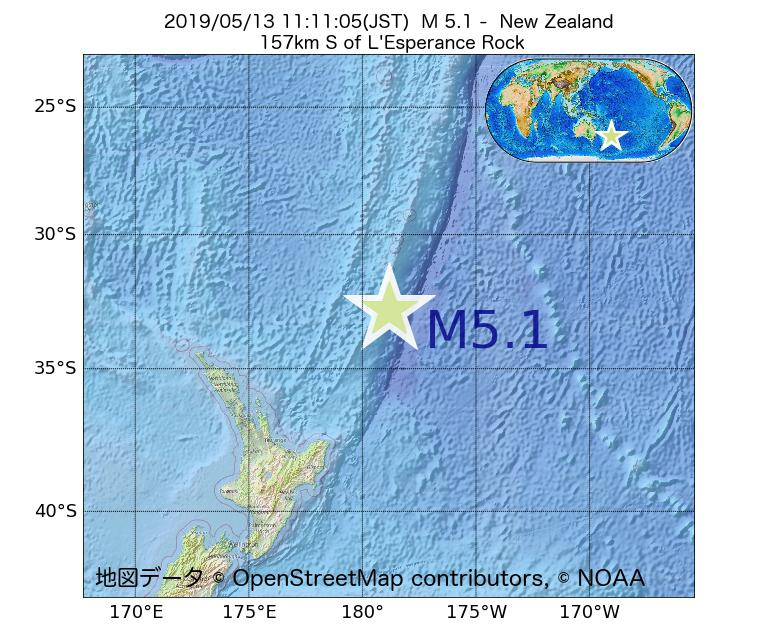 2019年05月13日 11時11分 - ニュージーランドでM5.1