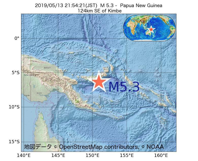 2019年05月13日 21時54分 - パプアニューギニアでM5.3