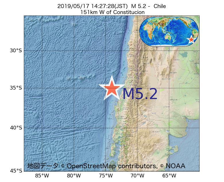 2019年05月17日 14時27分 - チリでM5.2