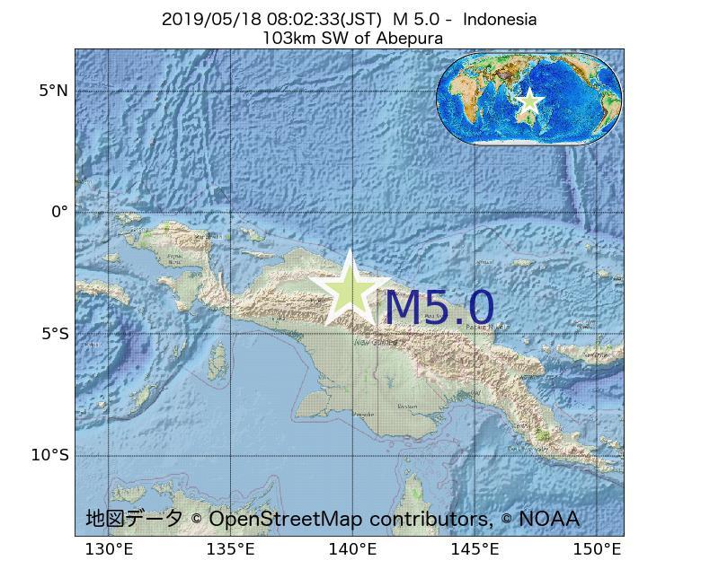 2019年05月18日 08時02分 - インドネシアでM5.0