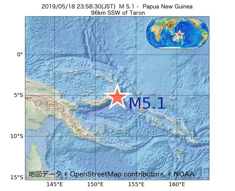 2019年05月18日 23時58分 - パプアニューギニアでM5.1