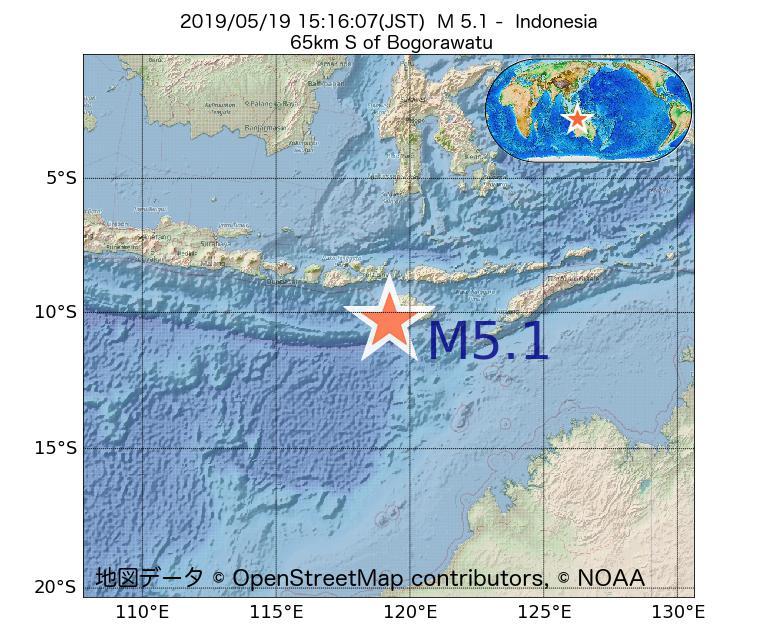2019年05月19日 15時16分 - インドネシアでM5.1