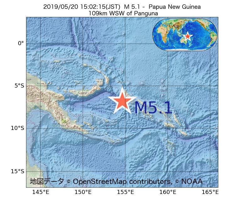 2019年05月20日 15時02分 - パプアニューギニアでM5.1
