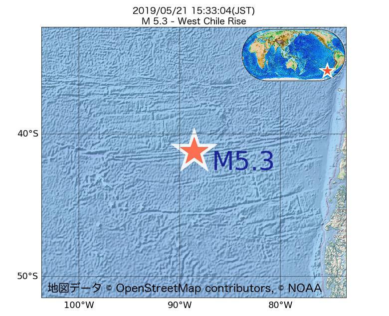 2019年05月21日 15時33分 - ガラパゴス諸島チリ海嶺でM5.3