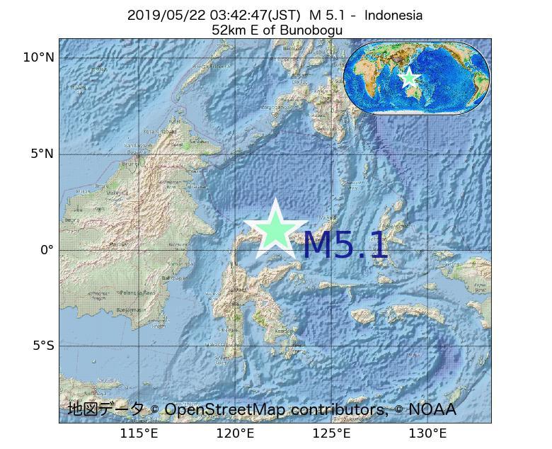 2019年05月22日 03時42分 - インドネシアでM5.1