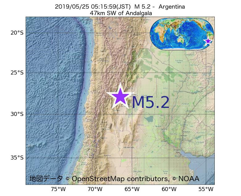 2019年05月25日 05時15分 - アルゼンチンでM5.2