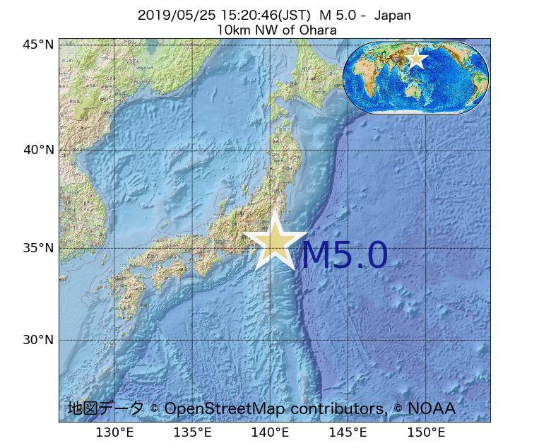 2019年05月25日 15時20分 - 日本でM5.0