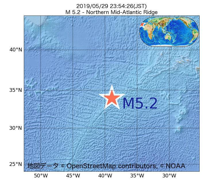 2019年05月29日 23時54分 - 大西洋中央海嶺北部でM5.2
