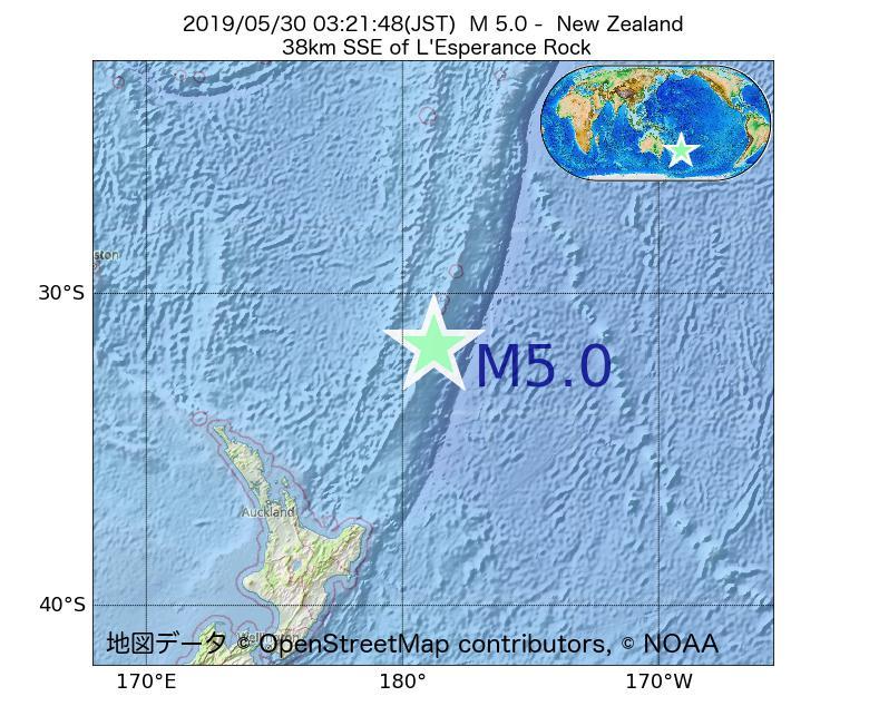 2019年05月30日 03時21分 - ニュージーランドでM5.0