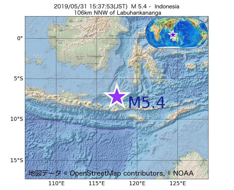 2019年05月31日 15時37分 - インドネシアでM5.4