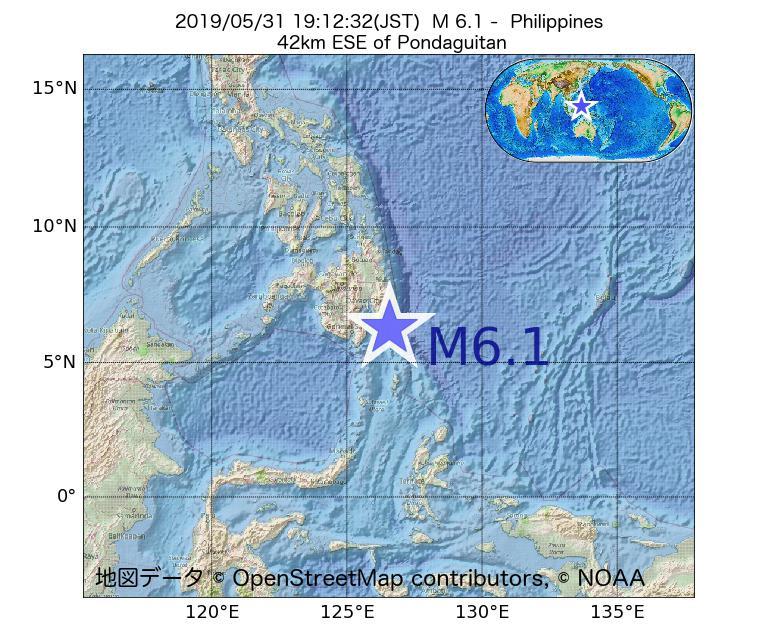2019年05月31日 19時12分 - フィリピンでM6.1