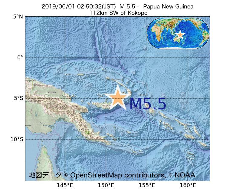 2019年06月01日 02時50分 - パプアニューギニアでM5.5