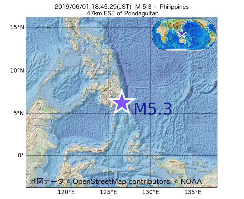 2019年06月01日 18時45分 - フィリピンでM5.3