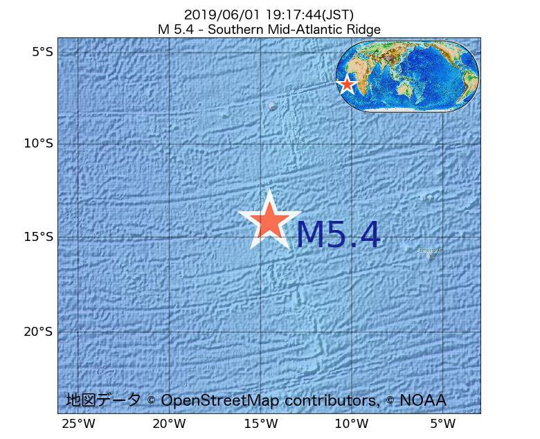 2019年06月01日 19時17分 - 大西洋中央海嶺でM5.4