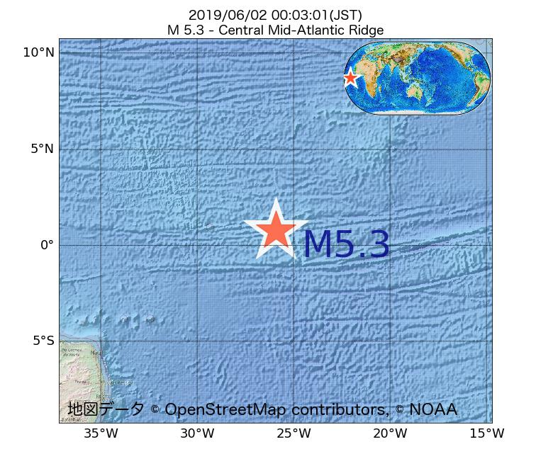 2019年06月02日 00時03分 - 大西洋中央海嶺でM5.3
