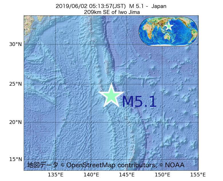 2019年06月02日 05時13分 - 日本でM5.1