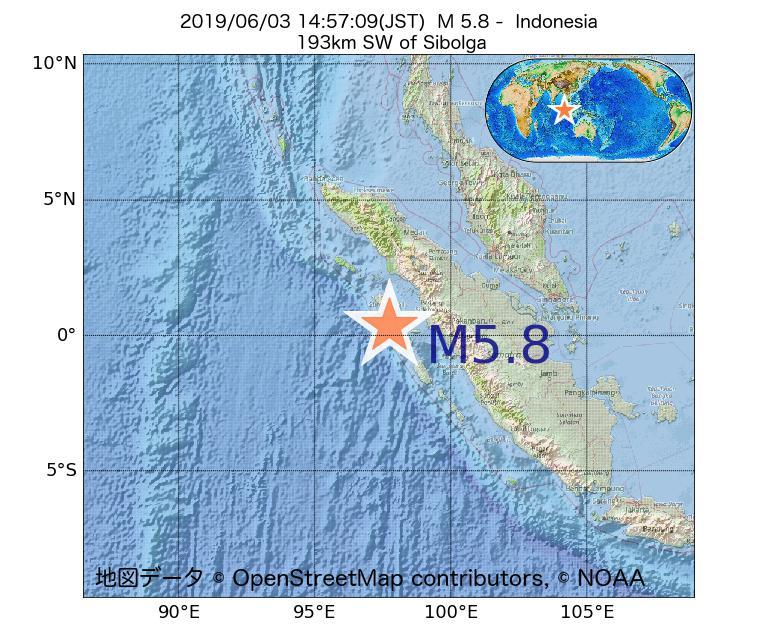 2019年06月03日 14時57分 - インドネシアでM5.8