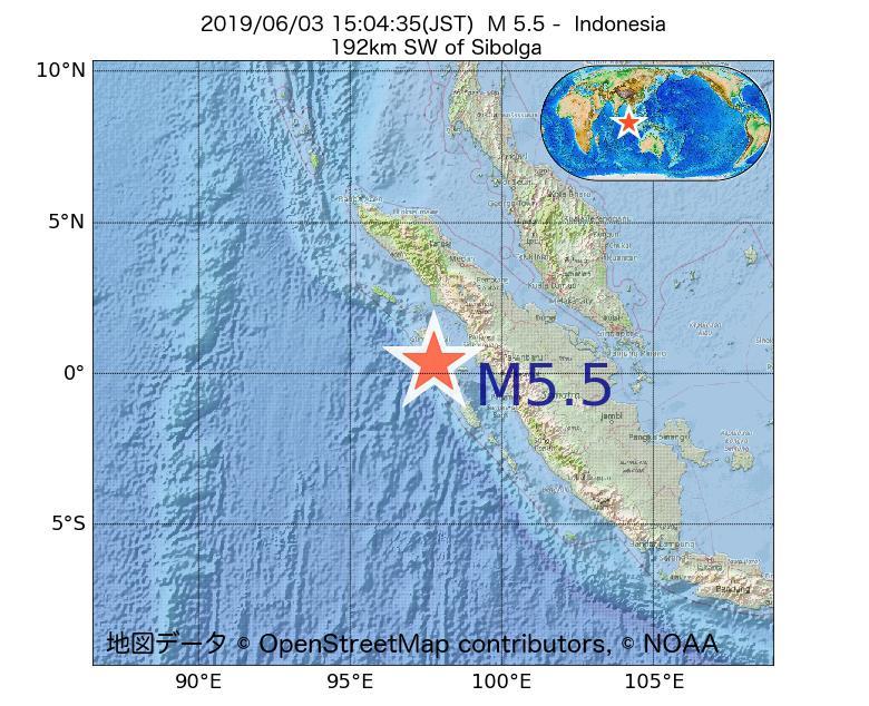 2019年06月03日 15時04分 - インドネシアでM5.5