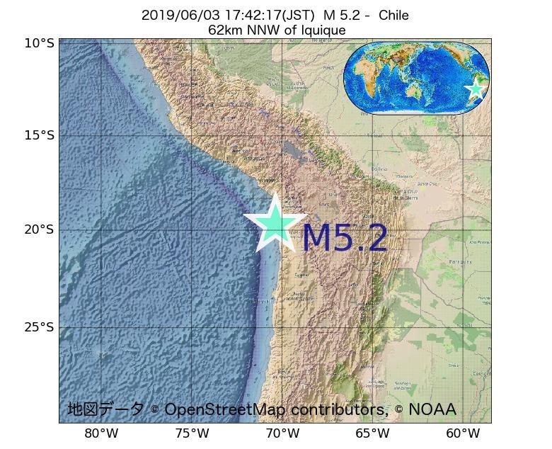 2019年06月03日 17時42分 - チリでM5.2