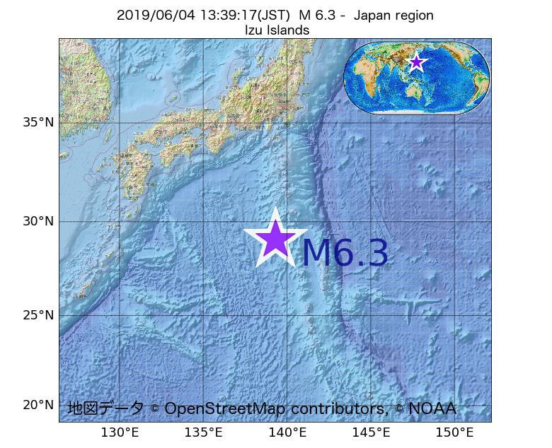 2019年06月04日 13時39分 - 日本周辺でM6.3