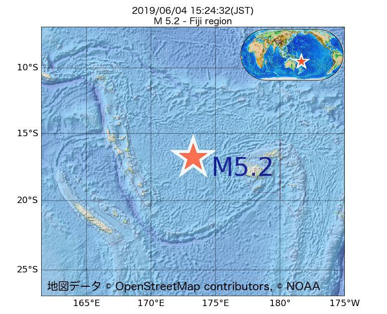 2019年06月04日 15時24分 - フィジー近海でM5.2