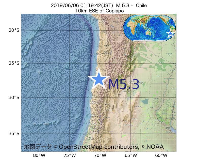 2019年06月06日 01時19分 - チリでM5.3