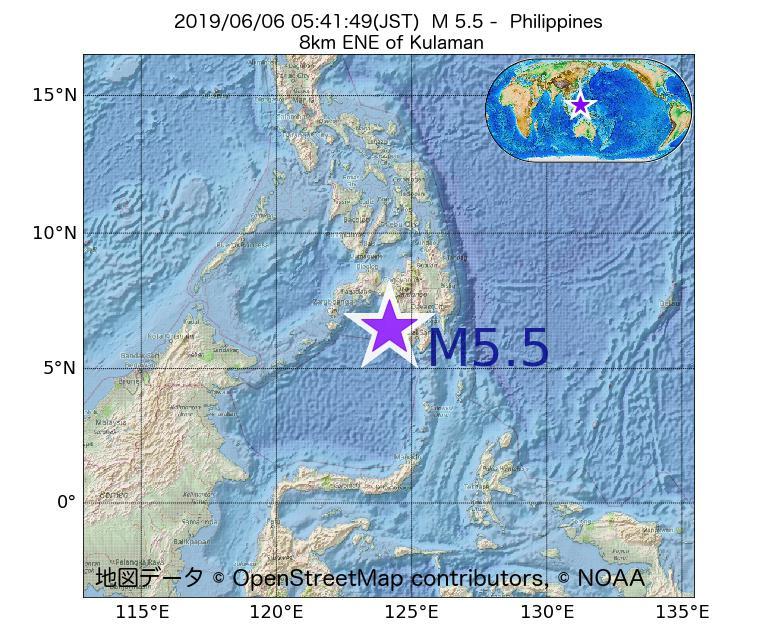 2019年06月06日 05時41分 - フィリピンでM5.5