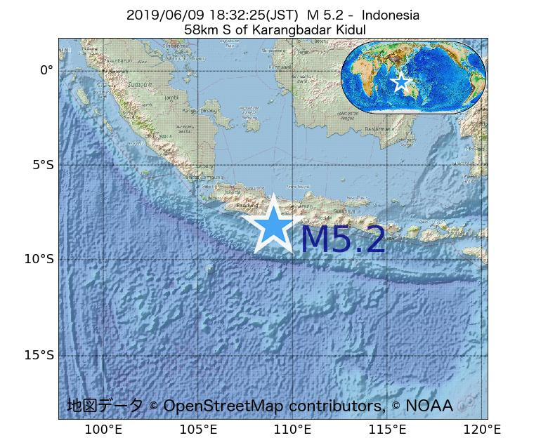 2019年06月09日 18時32分 - インドネシアでM5.2