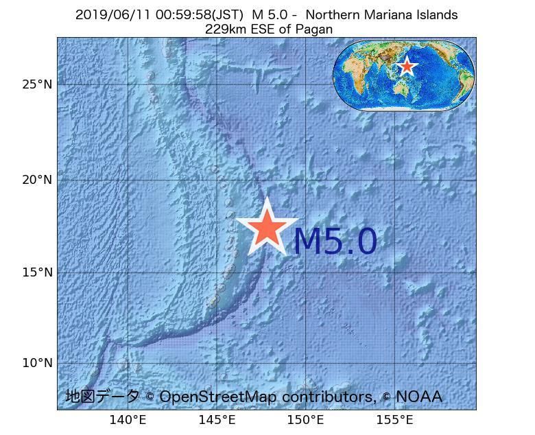 2019年06月11日 00時59分 - 北マリアナ諸島でM5.0