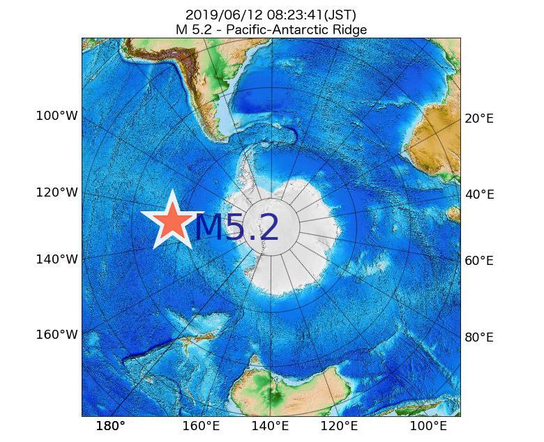 2019年06月12日 08時23分 - 太平洋南極海嶺でM5.2