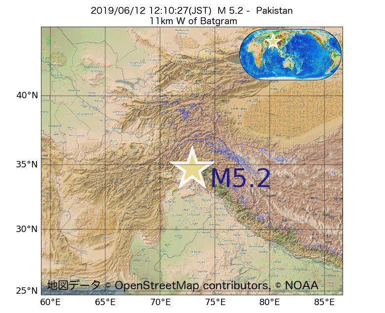 2019年06月12日 12時10分 - パキスタンでM5.2