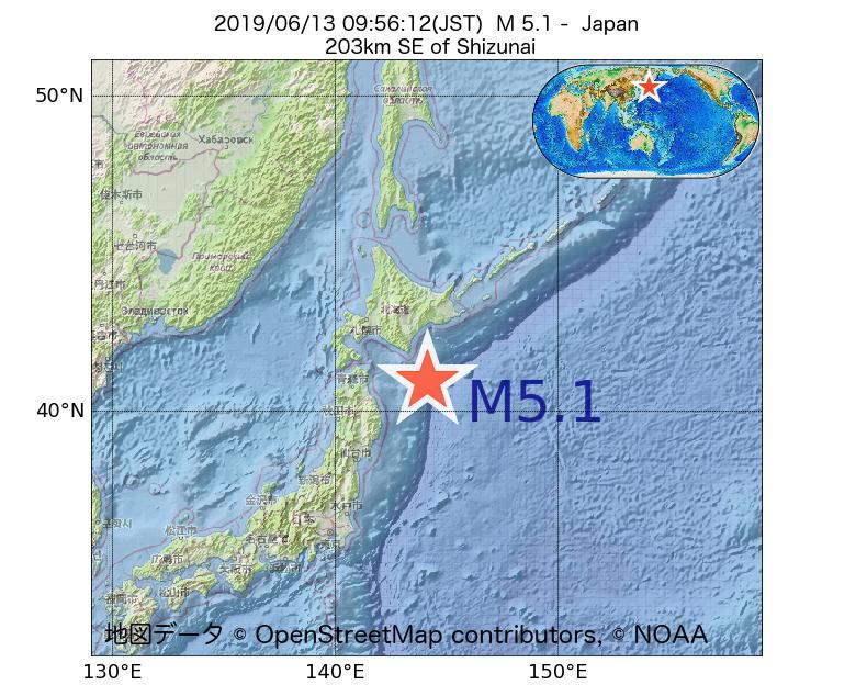 2019年06月13日 09時56分 - 日本でM5.1