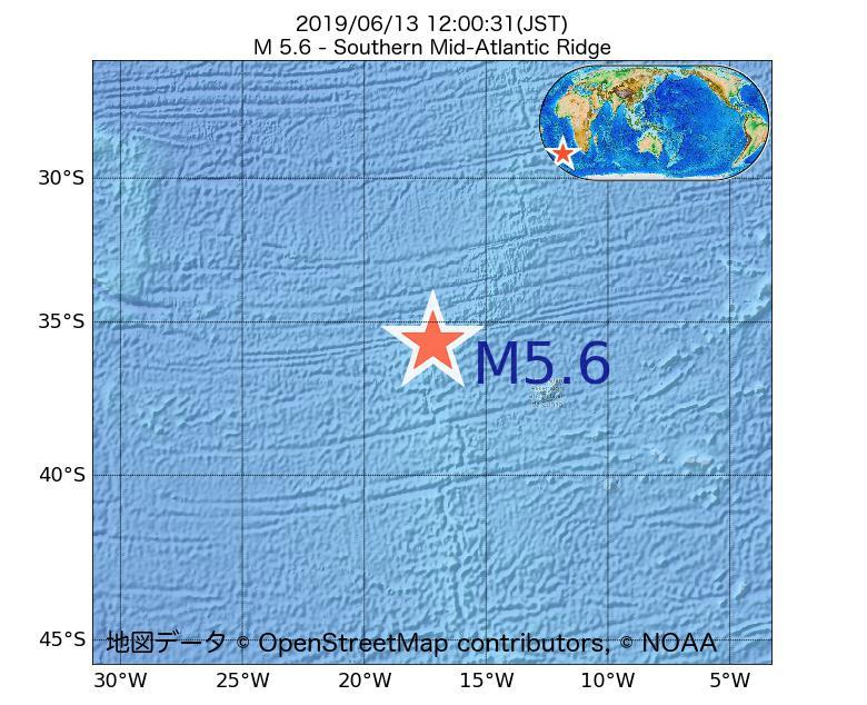 2019年06月13日 12時00分 - 大西洋中央海嶺でM5.6