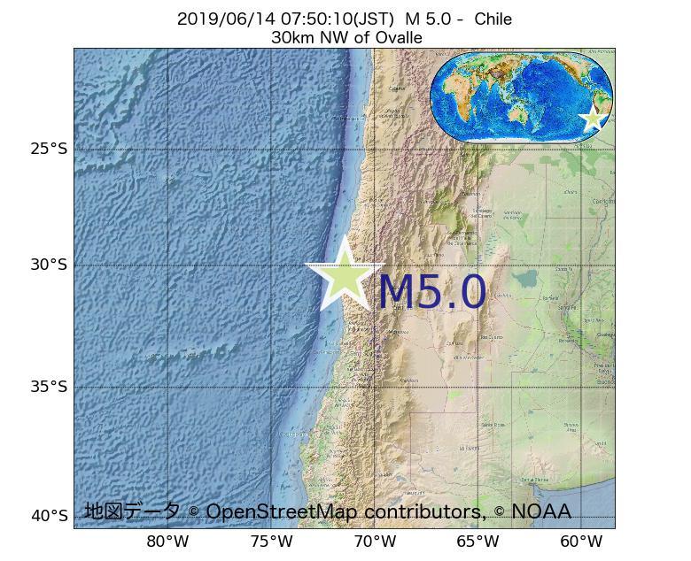 2019年06月14日 07時50分 - チリでM5.0