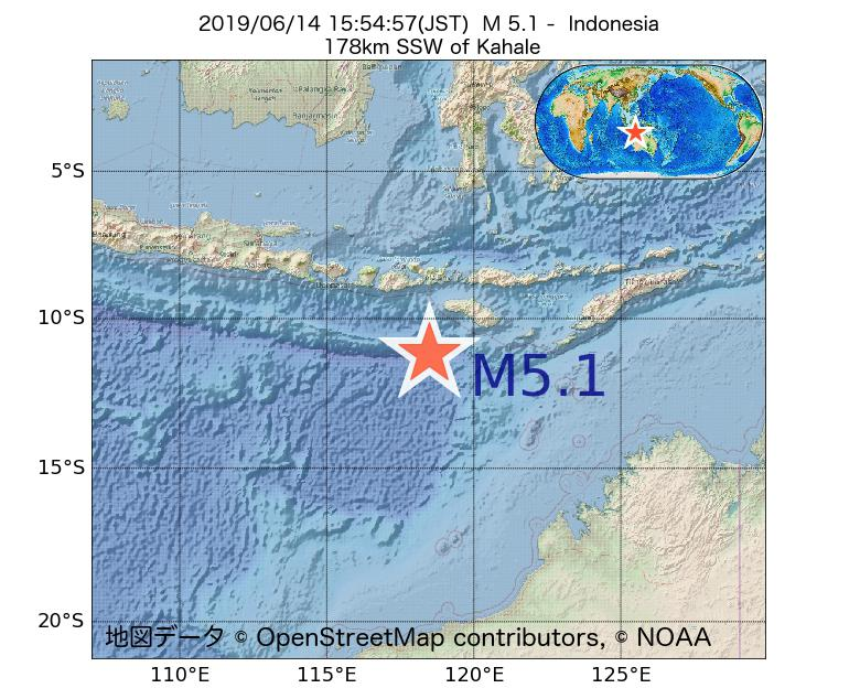 2019年06月14日 15時54分 - インドネシアでM5.1