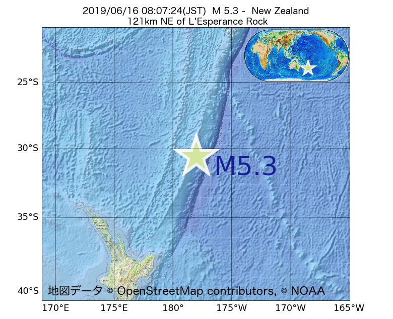 2019年06月16日 08時07分 - ニュージーランドでM5.3