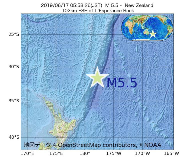 2019年06月17日 05時58分 - ニュージーランドでM5.5