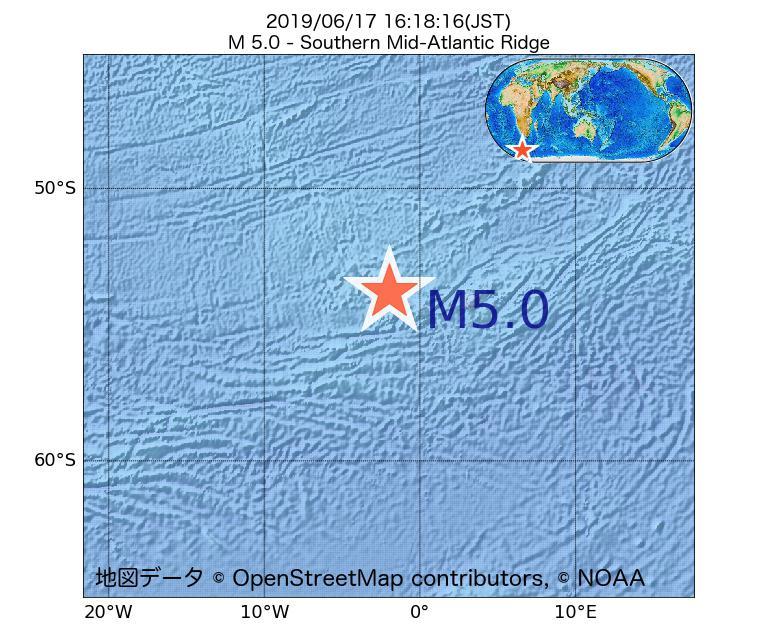 2019年06月17日 16時18分 - 大西洋中央海嶺でM5.0