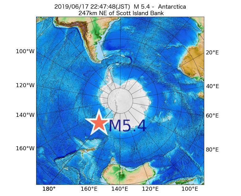 2019年06月17日 22時47分 - 南極大陸でM5.4