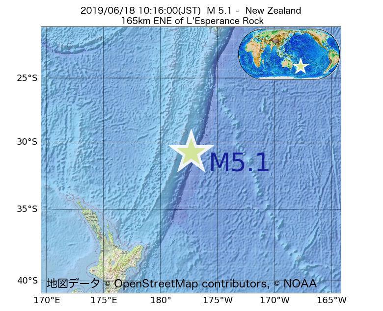 2019年06月18日 10時16分 - ニュージーランドでM5.1