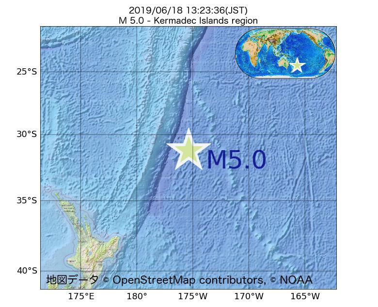 2019年06月18日 13時23分 - ケルマディック諸島海域でM5.0