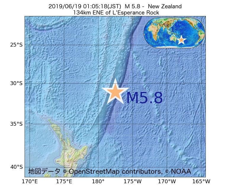 2019年06月19日 01時05分 - ニュージーランドでM5.8