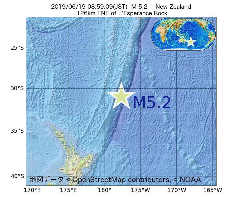 2019年06月19日 08時59分 - ニュージーランドでM5.2