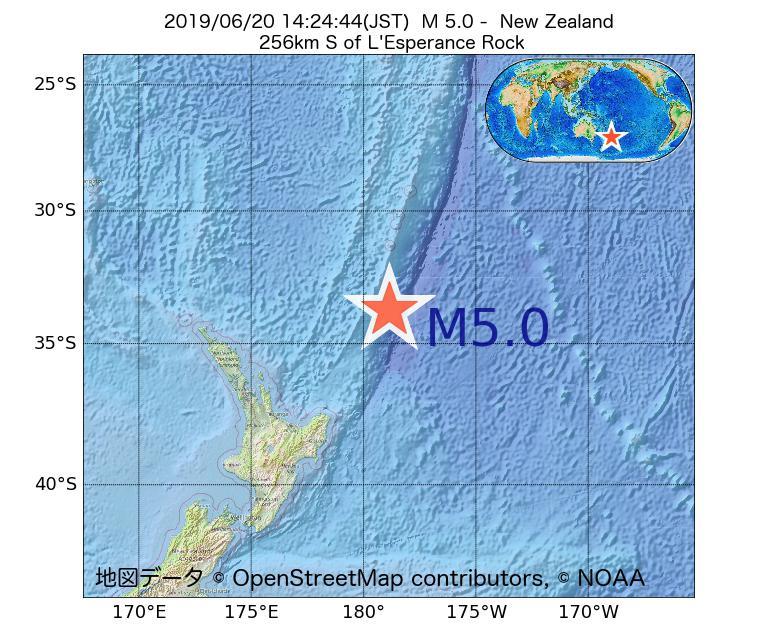 2019年06月20日 14時24分 - ニュージーランドでM5.0