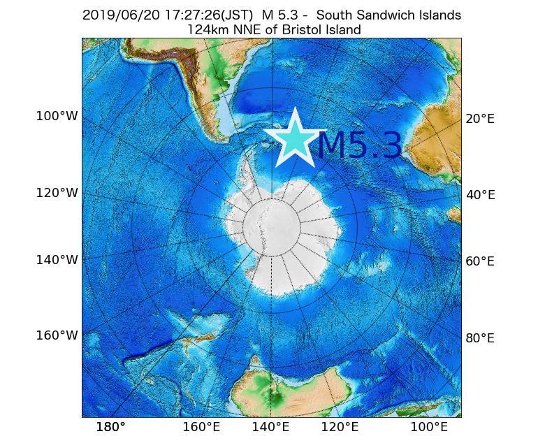 2019年06月20日 17時27分 - サウスサンドウィッチ諸島付近でM5.3
