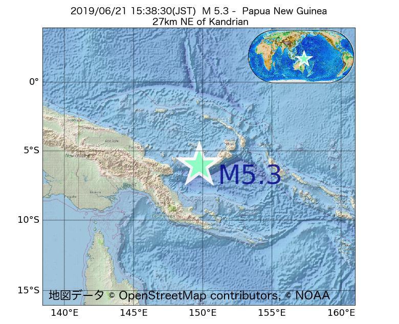 2019年06月21日 15時38分 - パプアニューギニアでM5.3