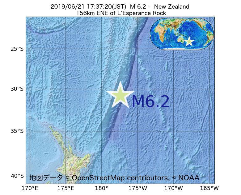 2019年06月21日 17時37分 - ニュージーランドでM6.2