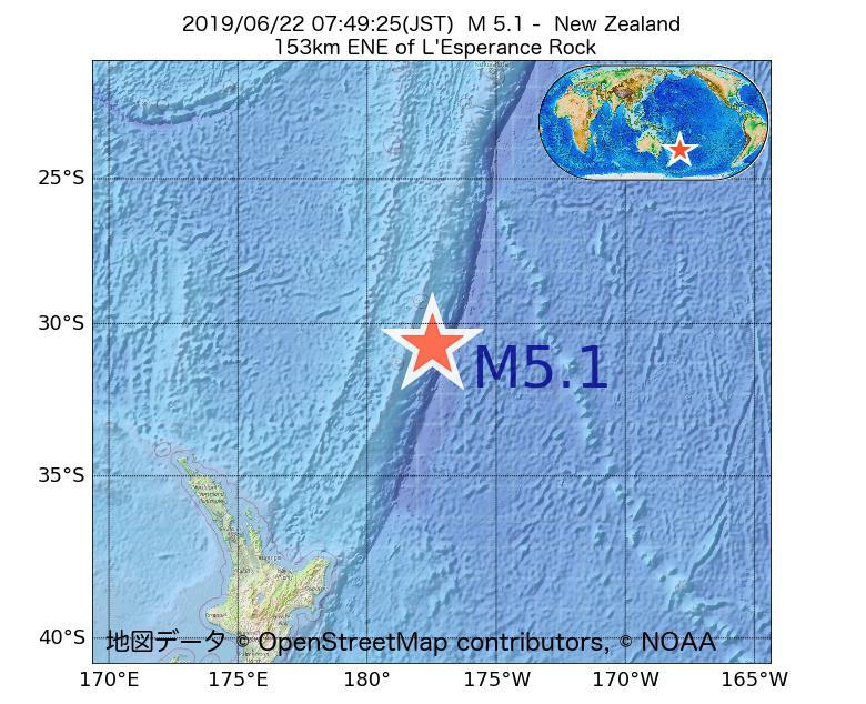 2019年06月22日 07時49分 - ニュージーランドでM5.1