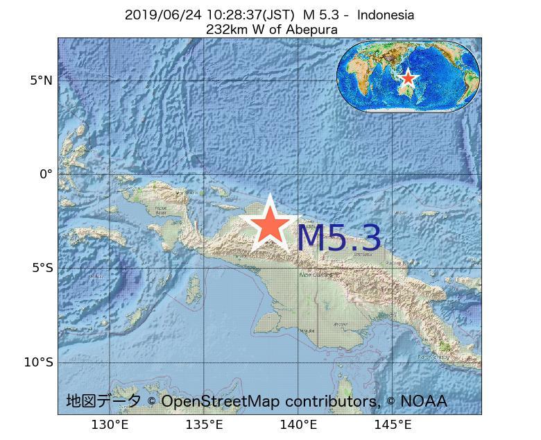 2019年06月24日 10時28分 - インドネシアでM5.3