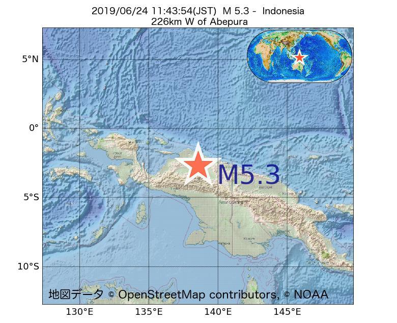 2019年06月24日 11時43分 - インドネシアでM5.3